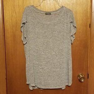 Lightweight Grey Sweater Knit Top, 2X